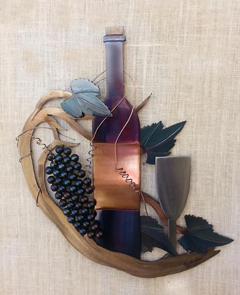 Fruit of the Vine - Wine Bottle and Vine Metal Wall Sculpture